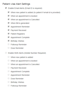 Patient Wise Settings